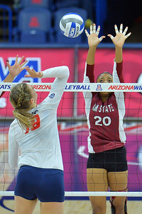 September 18, 2015: Sasha-Lee Thomas goes up for a solo block in a match between New Mexico State and No. 16 Arizona at McKale Memorial Center in Tucson, Ariz.