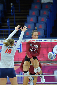 September 18, 2015: Gwen Murphy sends a ball past the Arizona block in a match between New Mexico State and No. 16 Arizona at McKale Memorial Center in Tucson, Ariz.