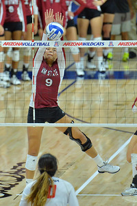 September 18, 2015: Bradley Nash goes up for a solo block in a match between New Mexico State and No. 16 Arizona at McKale Memorial Center in Tucson, Ariz.