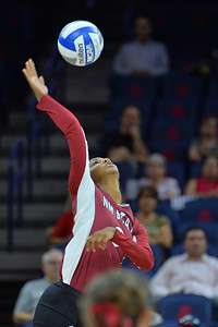 September 18, 2015: Tatyana Battle attacks a ball in a match between New Mexico State and No. 16 Arizona at McKale Memorial Center in Tucson, Ariz.