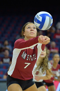 September 18, 2015: Jordan Abalos digs a ball in a match between New Mexico State and No. 16 Arizona at McKale Memorial Center in Tucson, Ariz.