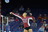 September 18, 2015: Nathalie Castellanos pushes a ball over the net in a match between New Mexico State and No. 16 Arizona at McKale Memorial Center in Tucson, Ariz.