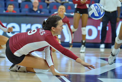 September 18, 2015: Bradley Nash can't save a ball from hitting the ground in a match between New Mexico State and No. 16 Arizona at McKale Memorial Center in Tucson, Ariz.