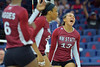 September 18, 2015: Nathalie Castellanos celebrates a point in a match between New Mexico State and No. 16 Arizona at McKale Memorial Center in Tucson, Ariz.