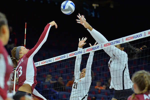 September 19, 2015: Gwen Murphy hits over the Texas block in a match between New Mexico State and No. 2 Texas at McKale Memorial Center in Tucson, Ariz.