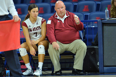 September 18, 2015: New Mexico State head coach Mike Jordan gives instructions to Jordan Abalos in a match between New Mexico State and Savannah State at McKale Memorial Center in Tucson, Ariz.