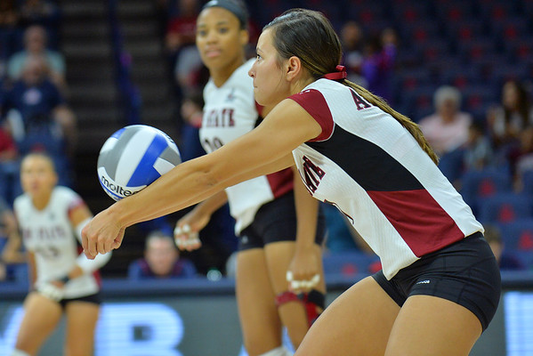 September 18, 2015: Jordan Abalos digs a ball in a match between New Mexico State and Savannah State at McKale Memorial Center in Tucson, Ariz.