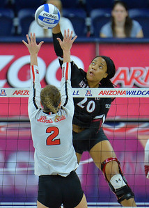 TUCSON, AZ - SEPTEMBER 15:  Sasha-Lee Thomas #20 of the New Mexico State Aggies takes a swing in a match between the New Mexico State Aggies and the Illinois State Redbirds at the McKale Center in Tucson, Arizona. The Redbirds won 3-0.  (Photo by Sam Wasson)