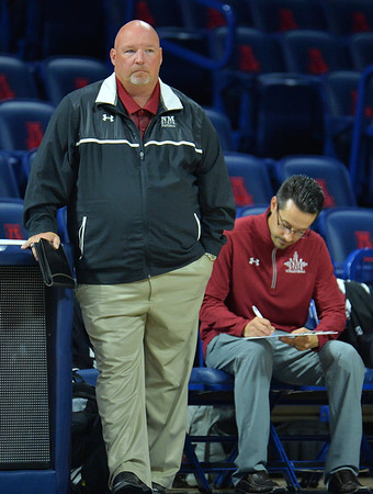TUCSON, AZ - SEPTEMBER 15:  Head coach Mike Jordan of the New Mexico State Aggies looks on in a match between the New Mexico State Aggies and the Illinois State Redbirds at the McKale Center in Tucson, Arizona. The Redbirds won 3-0.  (Photo by Sam Wasson)