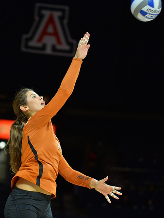 September 18, 2015: Texas outside hitter Paulina Prieto Cerame (19) serves a ball in a match between No. 16 Arizona and No. 2 Texas at McKale Memorial Center in Tucson, Ariz.