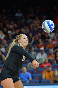 September 18, 2015: Texas libero Cat McCoy (8) digs a ball in a match between No. 16 Arizona and No. 2 Texas at McKale Memorial Center in Tucson, Ariz.