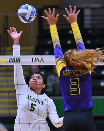 ANCHORAGE, AK - AUGUST 23:  Taylor Noga #5 of the Alaska Anchorage Seawolves takes a swing against Selai Damuni #3 of the Western New Mexico Mustangs during their match at the Alaska Airlines Center on August 23, 2018 in Anchorage, Alaska. The Seawolves won 3-0.  (Photo by Sam Wasson)