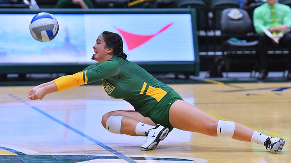 ANCHORAGE, AK - AUGUST 23:  Anjoilyn Vreeland #3 of the Alaska Anchorage Seawolves digs a ball against the Western New Mexico Mustangs during their match at the Alaska Airlines Center on August 23, 2018 in Anchorage, Alaska. The Seawolves won 3-0.  (Photo by Sam Wasson)
