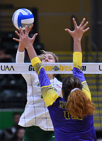 ANCHORAGE, AK - AUGUST 23:  Eve Stephens #16 of the Alaska Anchorage Seawolves tips a ball against Deyzha Samuelu #18 of the Western New Mexico Mustangs during their match at the Alaska Airlines Center on August 23, 2018 in Anchorage, Alaska. The Seawolves won 3-0.  (Photo by Sam Wasson)