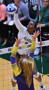 ANCHORAGE, AK - AUGUST 23:  Chrisalyn Johnson #9 of the Alaska Anchorage Seawolves takes a swing against Maggie Roe #11 of the Western New Mexico Mustangs during their match at the Alaska Airlines Center on August 23, 2018 in Anchorage, Alaska. The Seawolves won 3-0.  (Photo by Sam Wasson)