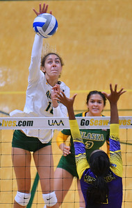 ANCHORAGE, AK - AUGUST 23:  Eve Stephens #16 of the Alaska Anchorage Seawolves takes a swing against Bria Augustine #5 of the Western New Mexico Mustangs during their match at the Alaska Airlines Center on August 23, 2018 in Anchorage, Alaska. The Seawolves won 3-0.  (Photo by Sam Wasson)