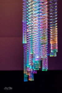 A selection of slinky's hanging from the ceiling. Enjoy and hold hands.