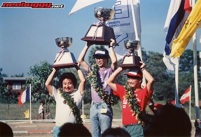 1990 IFMAR 1/8 Buggy podium 1. Koji Sanada, 2. Takashi Aizawa, 3. Yuuichikanai