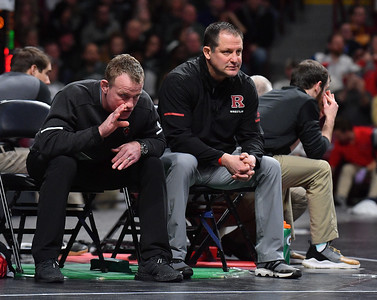 MINNEAPOLIS, MN - MARCH 09:  Associate head coach Donny Pritzlaff and head coach Scott Goodale look on during the 2019 Big Ten Wrestling Championships at Williams Arena in Minneapolis, Minnesota on March 9th, 2019.  (Photo by Sam Wasson for Rutgers Athletics)