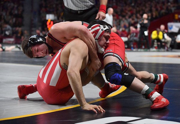 MINNEAPOLIS, MN - MARCH 09:  Anthony Ashnault wrestles during the 2019 Big Ten Wrestling Championships at Williams Arena in Minneapolis, Minnesota on March 9th, 2019.  (Photo by Sam Wasson for Rutgers Athletics)