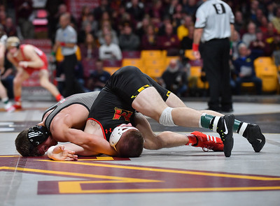 MINNEAPOLIS, MN - MARCH 09:  Nick Suriano wrestles during the 2019 Big Ten Wrestling Championships at Williams Arena in Minneapolis, Minnesota on March 9th, 2019.  (Photo by Sam Wasson for Rutgers Athletics)