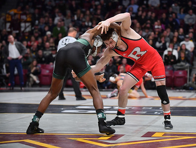 MINNEAPOLIS, MN - MARCH 09:  Shane Metzler wrestles during the 2019 Big Ten Wrestling Championships at Williams Arena in Minneapolis, Minnesota on March 9th, 2019.  (Photo by Sam Wasson for Rutgers Athletics)