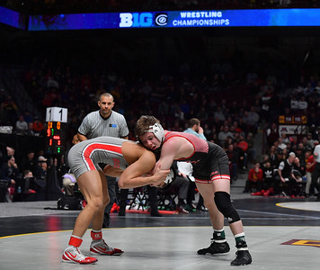 MINNEAPOLIS, MN - MARCH 10:  Shane Metzler wrestles during the 2019 Big Ten Wrestling Championships at Williams Arena in Minneapolis, Minnesota on March 10th, 2019.  (Photo by Sam Wasson for Rutgers Athletics)