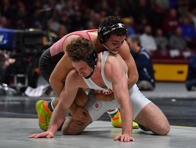 MINNEAPOLIS, MN - MARCH 10:  Joe Grello wrestles during the 2019 Big Ten Wrestling Championships at Williams Arena in Minneapolis, Minnesota on March 10th, 2019.  (Photo by Sam Wasson for Rutgers Athletics)