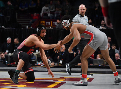 MINNEAPOLIS, MN - MARCH 10:  John Van Brill wrestles during the 2019 Big Ten Wrestling Championships at Williams Arena in Minneapolis, Minnesota on March 10th, 2019.  (Photo by Sam Wasson for Rutgers Athletics)
