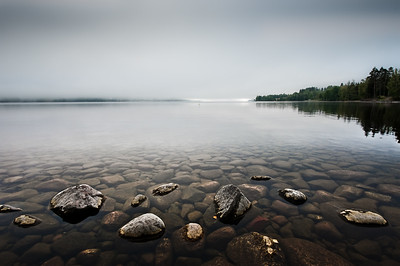 Water, stones and fog