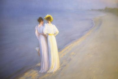 Sommeraften på Skagen Sønderstrand (P. S. Krøyer) - utsnitt