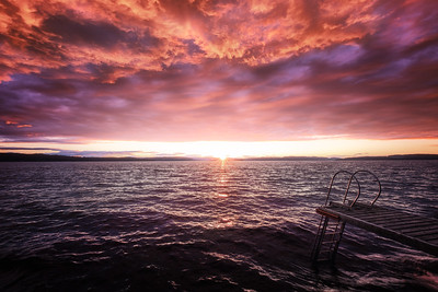 Stupebrett i solnedgang