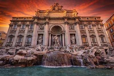Sunset at Trevi