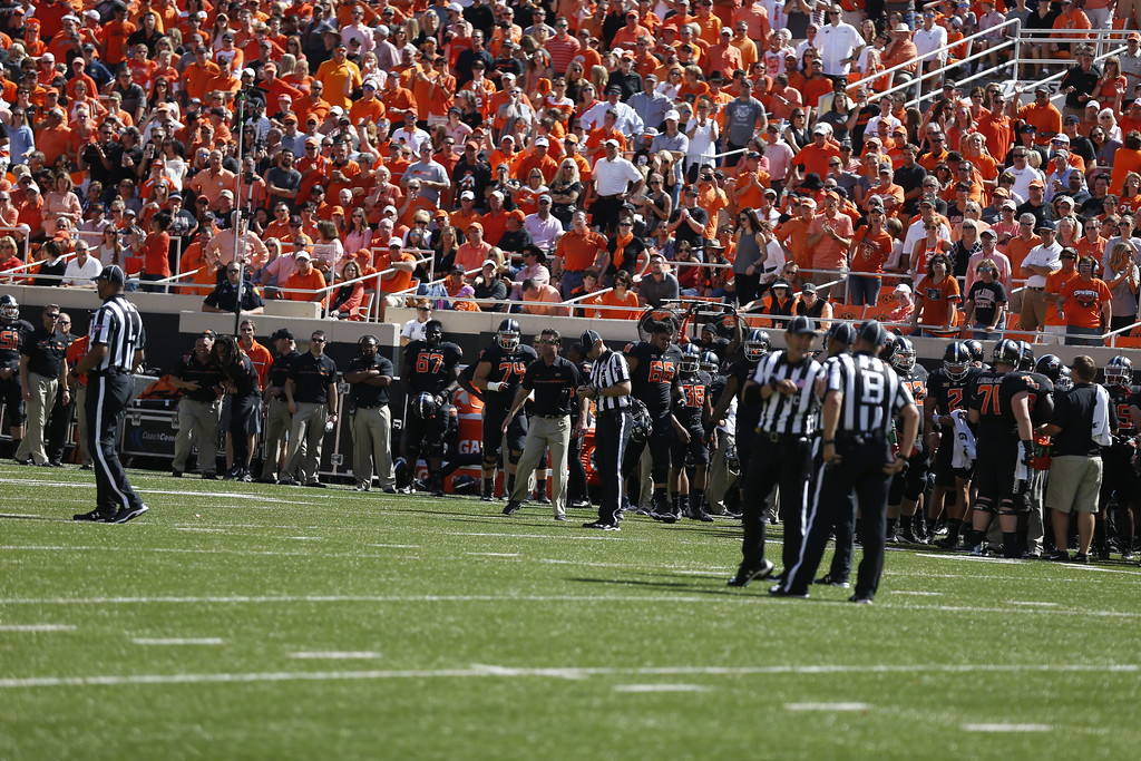 The Oklahoma State University Cowboys vs the Texas Longhorns in NCAA Football In Boone Pickens Stadium on October 1, 2016. Photos by Mitchell Alcala