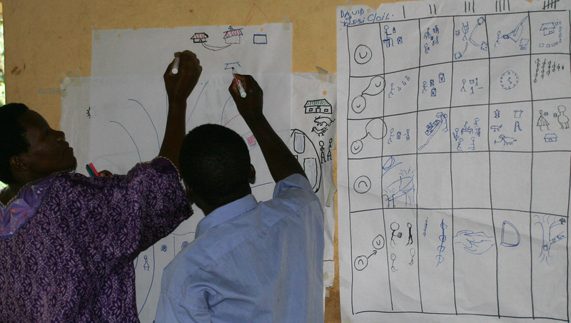 Participants draw diagrams together