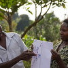 Roger and Constance are discussing the new version of the empowerment map tool which also maps the peer sharing process. Roger, like Ambrose, started off in February fully supporting domestic violence to keep his wife in check and his right to have full ownership of all the coffee land and income. But now he has a joint land agreement with his wife and they are discussing everything and they are now very much happier together. He has already shared his ideas with 30 of his neighbours and helped them to change also. Constance also started off in February supporting the idea that women should be completely subservient to her husband, but now has her own business and her family is much better off.