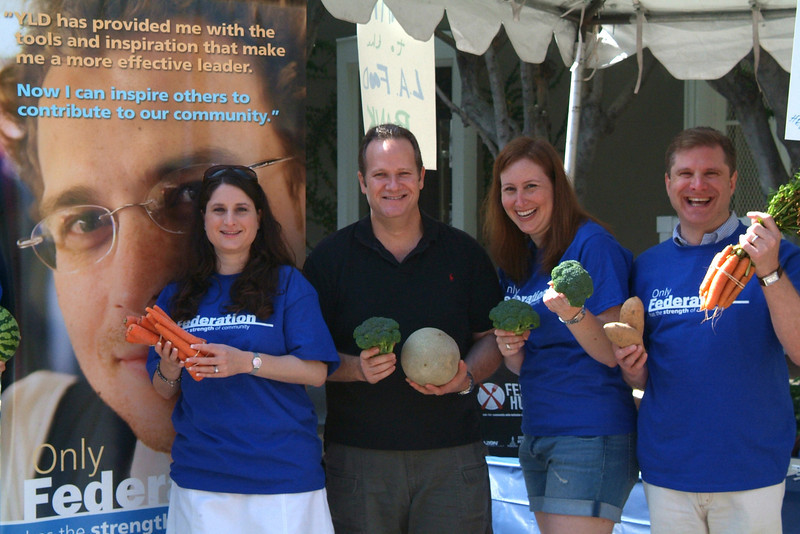 Maya Zutler Spinrad, Brian Fortman, Lisa Rosenblatt and Fed Up with Hunger Chair Ron Galperin spent 6/13 gleaning produce and advocating for hunger awareness at the Melrose Farmers Market.