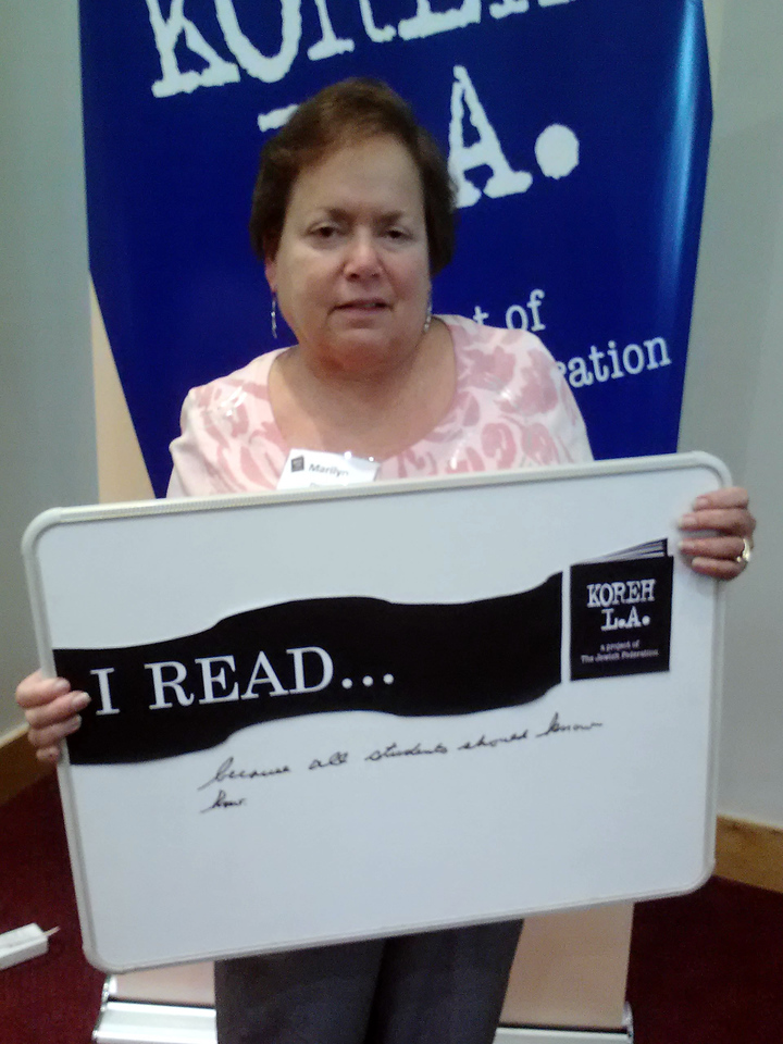 """Volunteer Marilyn Dennis of Lassen elementary READS """"because all students should know how."""""""