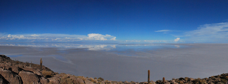 Panorama shot from Fish Island, looking out at the salt flats