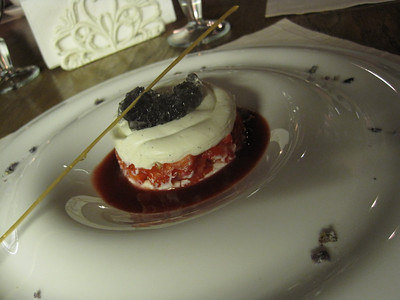 Dessert at Balcon... I think it was strawberry mascarpone with blue rock sugar