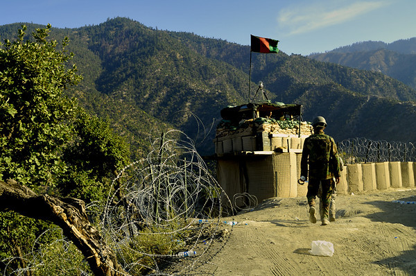 """An Afghan National Army outpost next to the """"road""""..."""