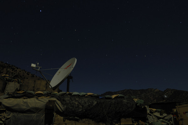 Here's our internet connection at Korengal Outpost...ugh..very slow, but it's amazing to have any internet at all out here… (1.5 minute exposure, tripod)