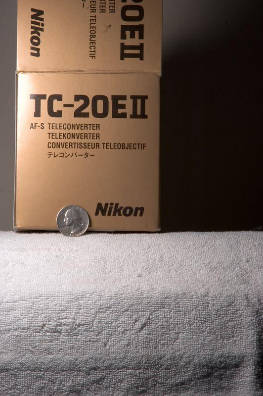 "[#Beginning of Shooting Data Section]<br /> Nikon D70<br /> <br /> Focal Length: 360mm<br /> <br /> Optimize Image: Custom<br /> <br /> Color Mode: Mode Ia (sRGB) <br /> <br /> Noise Reduction: OFF<br /> <br /> 2005/03/23 19:09:53.1<br /> <br /> Exposure Mode: Aperture Priority<br /> <br /> White Balance: Incandescent<br /> <br /> Tone Comp: Normal<br /> <br /> RAW (12-bit) Lossless<br /> <br /> Metering Mode: Multi-Pattern<br /> <br /> AF Mode: AF-S<br /> <br /> Hue Adjustment: 0°<br /> <br /> Image Size:  Large (2000 x 3008)<br /> <br /> 1/2.5 sec - F/20<br /> <br /> Flash Sync Mode: Not Attached<br /> <br /> Saturation:  Normal<br /> <br /> Exposure Comp.: 0 EV<br /> <br /> Sharpening: None<br /> <br /> Lens: VR 70-200mm F/2.8 G<br /> <br /> Sensitivity: ISO 200<br /> <br /> Image Comment: (C)2005 Dana Paul Franz             <br /> <br /> [#End of Shooting Data Section]<br /> _________________________________________________________________________________________________________ Shot with the Nikkor VR 70-200mm f/2.8 with Nikon TC-20E II (2x converter), giving a ""140-400mm f/5.6"" (converter reduces maximum aperture by two full stops) from about 17 feet."