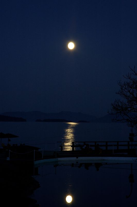 Moon off Sea Water Pool