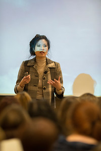 Author Sheryl WuDunn talk to freshman students at Westfield State University after they read her book Half The Sky: Turning Opression Into Opportunity for Women Worldwide