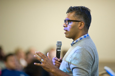 Author Sudhir Venkatesh speaks at Westfield State University. His book Gang Leader For a Day was chosen by the school as it's First-Year Read.
