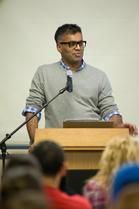 Author Sudhir Venkatesh speaks with Westfield State University student proior to a lecture on his book Gang Leader For a Day, which was chosen by the school as it's First-Year Read.