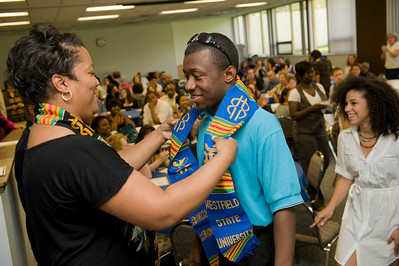 SANKOFA Stolling ceremony in the Gareden Room of the Horace Mann Center at Westfield State University.