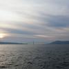 Golden Gate Bridge in the distance on the return journey from Alcatraz Island.