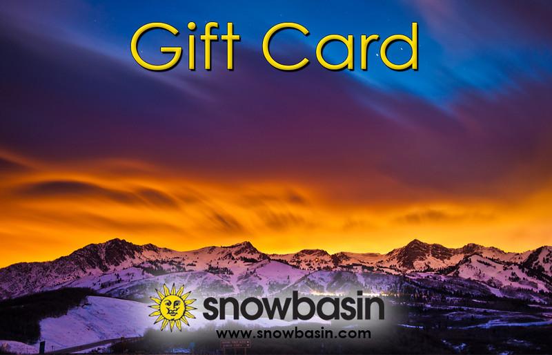 Snowbasin Gift Card sunset over SB